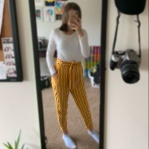 Yellow Striped Casual Pants